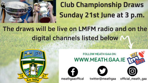 Club Championship Draws Sunday 21st June at 3 p.m.