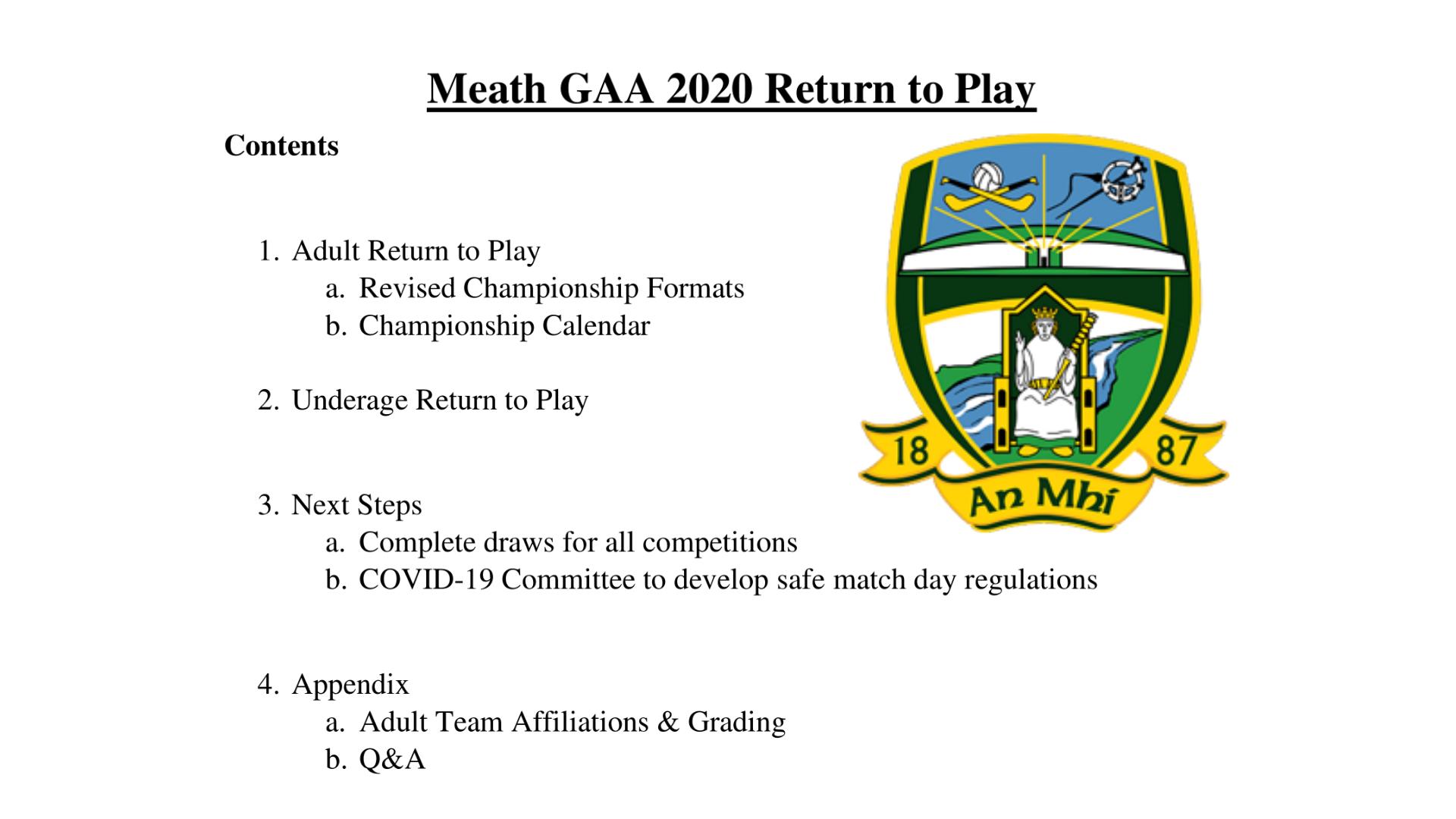 2020 Meath GAA Return to Play (11-06-20)