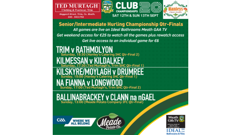 WATCH CLUB HURLING QTR-FINALS LIVE