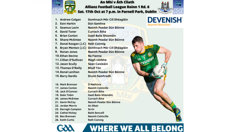 Meath Senior Team v Dublin – Allianz Leagues 2020