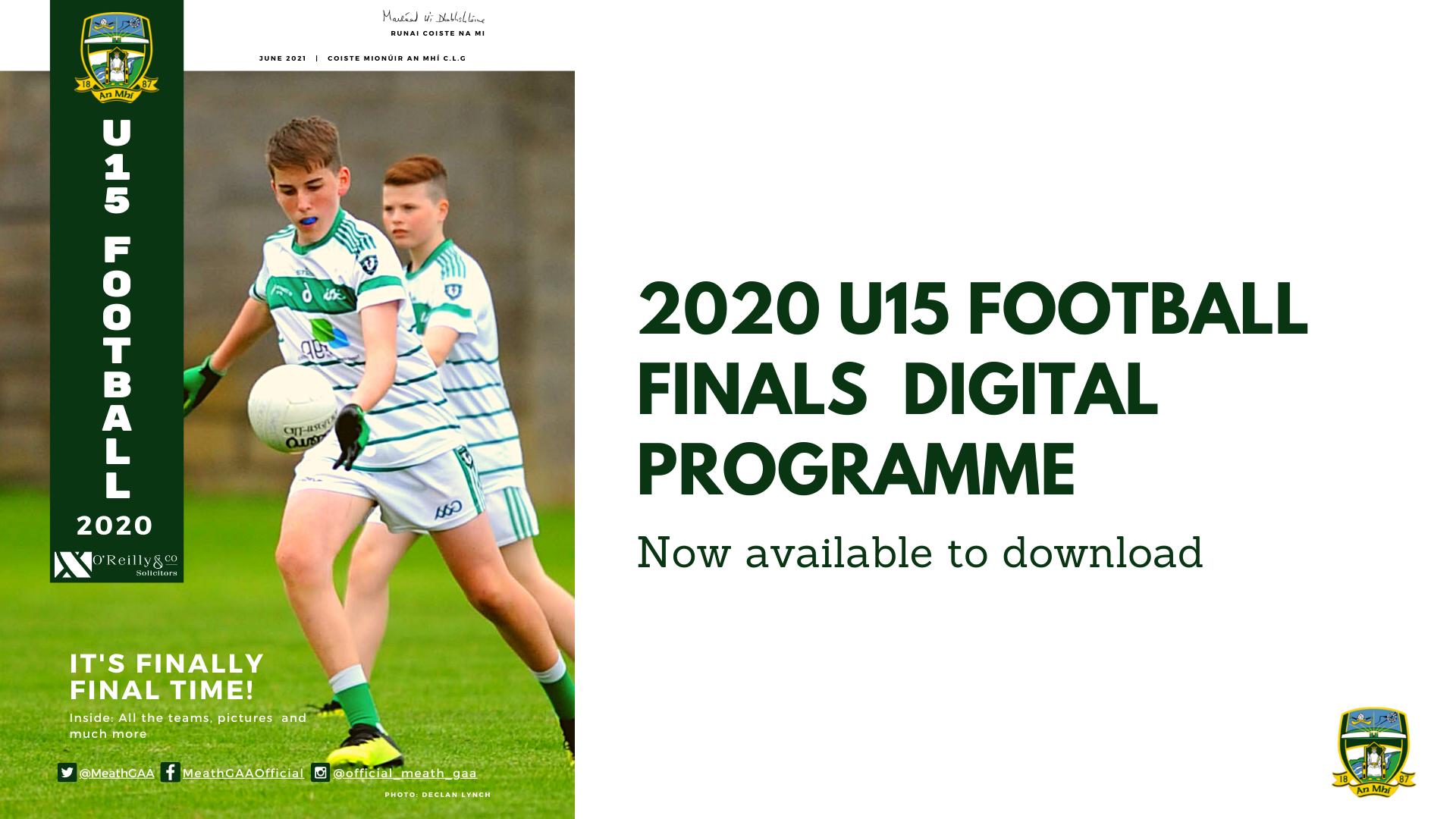 Get your U-15 Finals (2020) Digital Programme now